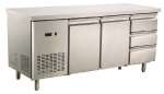 European two door table refrigerator with three drawers